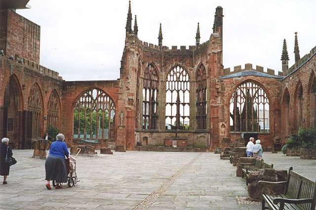 Sad remains of the previous Coventry Cathedral