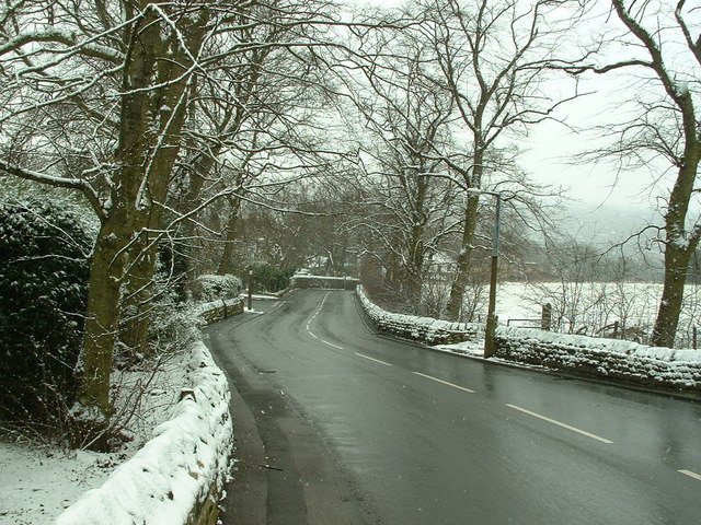 Looking down Hopton Hall Lane