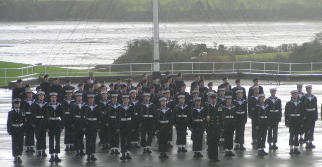 Passing out parade on H.M.S. Raleigh( a wet day)
