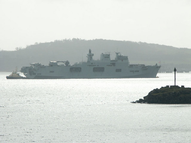 View from Fife Coastal Path at Donibristle (with HMS Ocean off Downing Point)