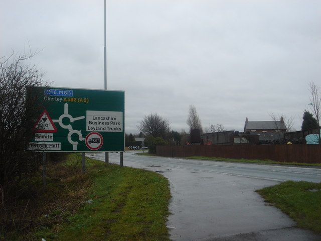 Sign for double roundabout at Farington