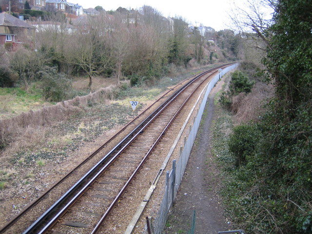 Ryde to Shanklin railway line near Brading
