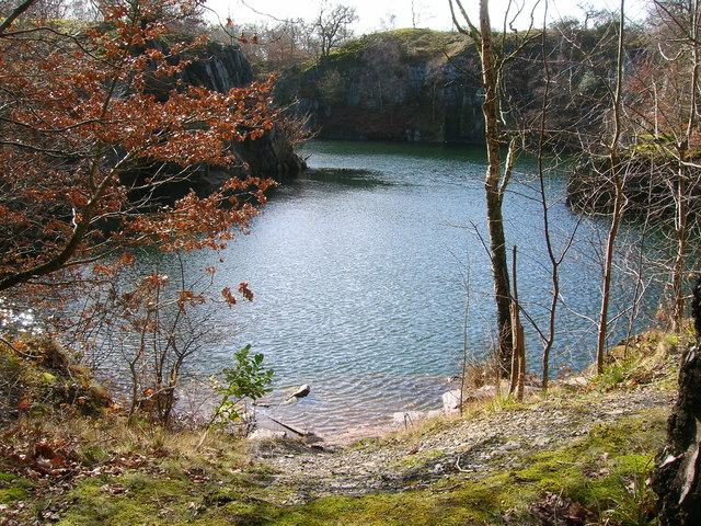 Disused slate quarry in Swithland Wood
