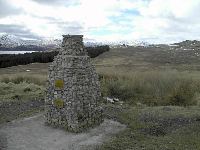 Cairn overlooking Loch Tulla and Glen Orchy hills
