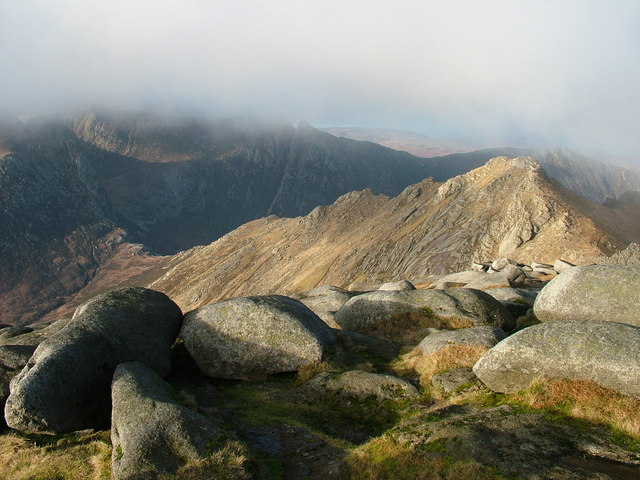 The ridge to North Goat Fell from the summit