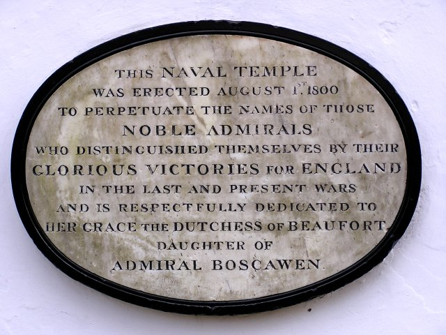 Plaque on the Naval Temple nr Monmouth
