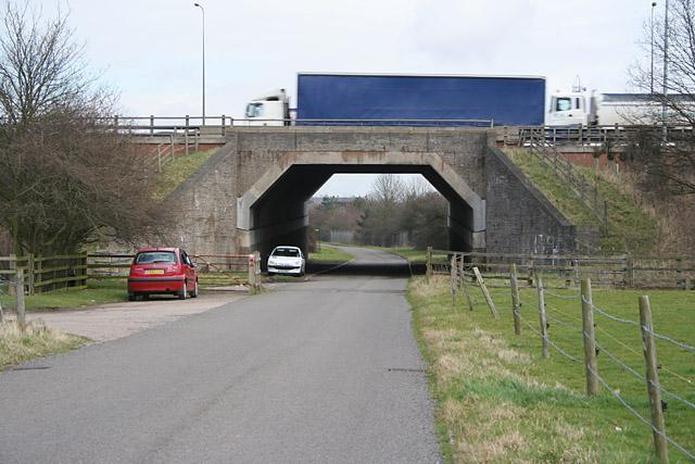 Watergate Lane and the M1 near Braunstone