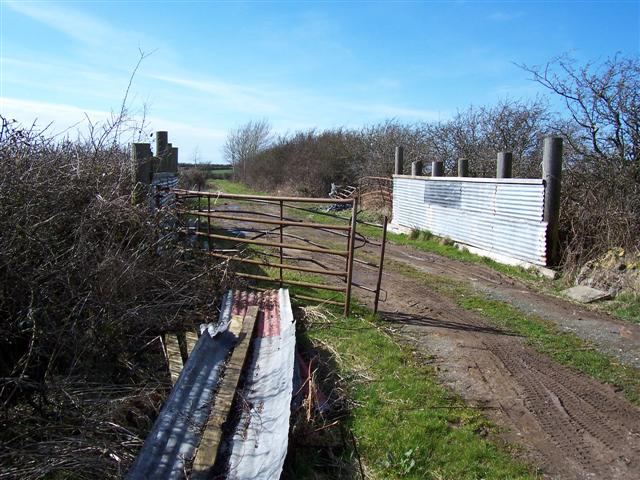 Farming pens on the lane.