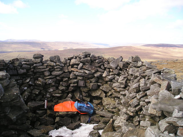 Shelter  north of Great Whernside summit