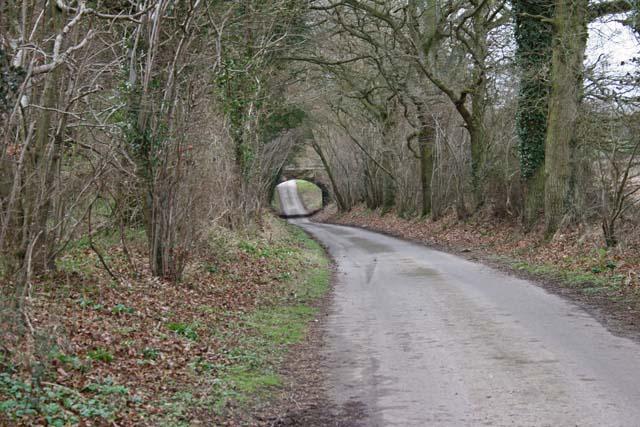 Road passing under railway bridge