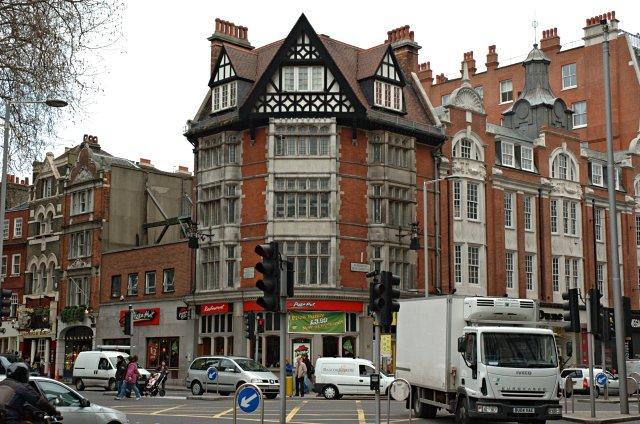 Corner of Kensington High Street and Kensington Church Street. Kensington