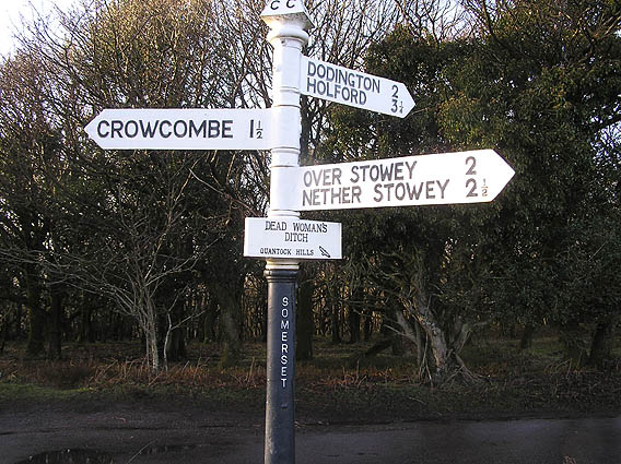 Signpost at Deadwoman's Ditch, Quantock hills