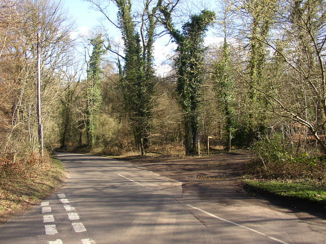 Road junction at end of bridleway across Hydon Heath, Hambledon