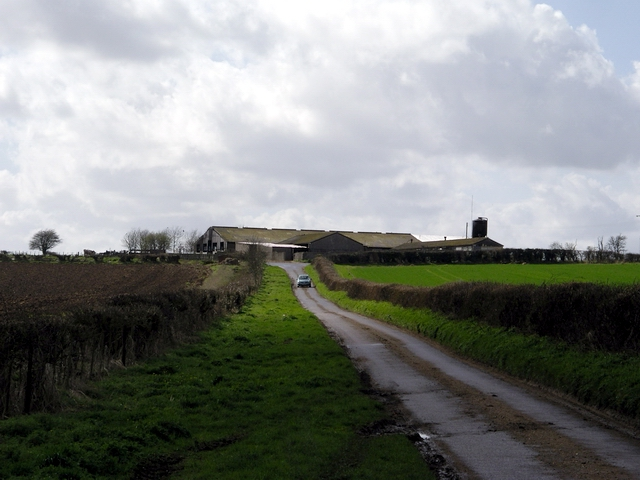 Minor road and farm buildings, west of Longstock