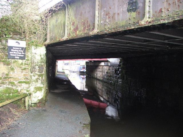 Railway bridges over the Huddersfield narrow canal.