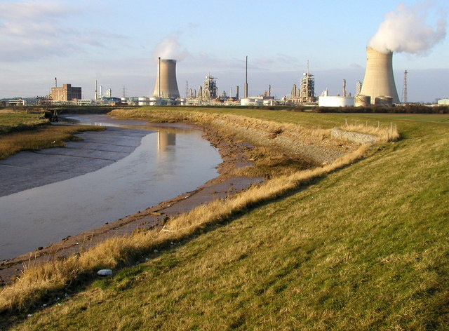 Hedon Clough and the BP  Chemicals site at Saltend