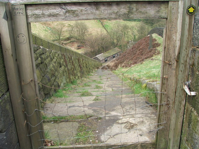 Steps beside the dam of Butterley Reservoir.