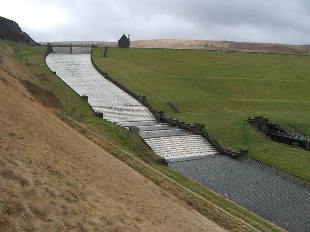 Butterley reservoir spillway.
