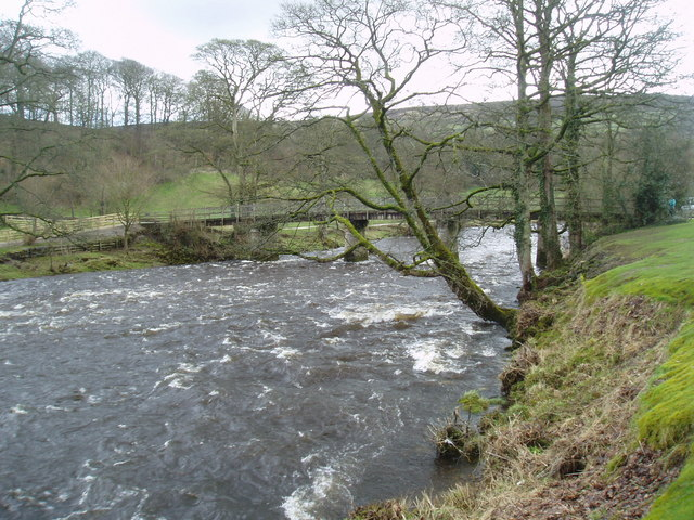 River Wharfe in spate, Bolton Abbey, Yorkshire