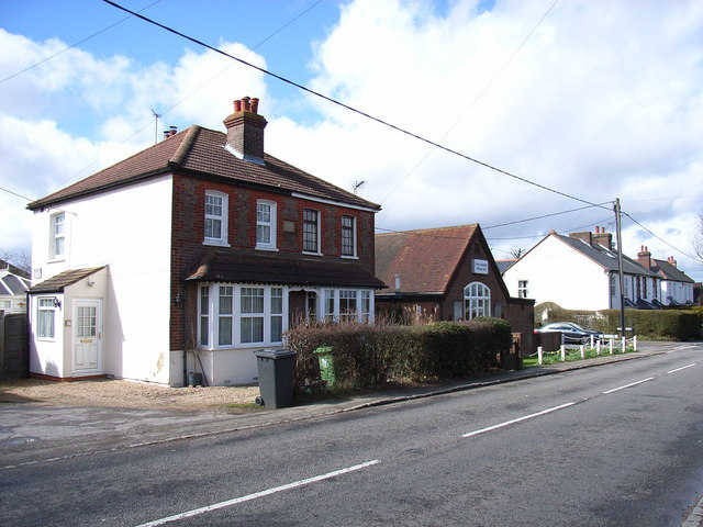 Stanley Cottages and the village hall, Great Kingshill