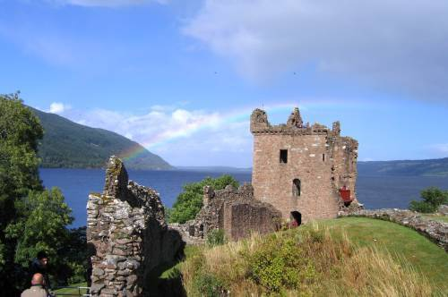 Urquhart Castle with rainbow