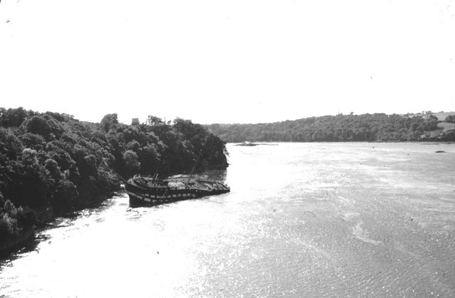 Wreck of HMS Conway in the Menai Strait.