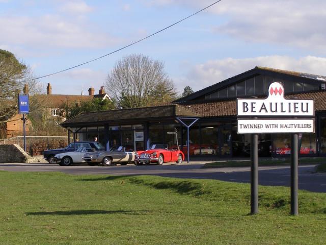 Beaulieu Garage and village sign, New Forest