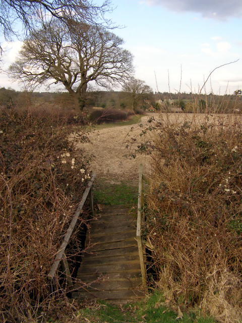 Footbridge and permissive footpath west of Beaulieu, New Forest