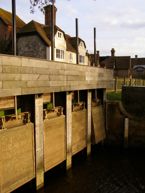 Sluice gates at the Mill Dam, Beaulieu, New Forest