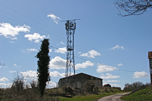 Radio mast and farm building