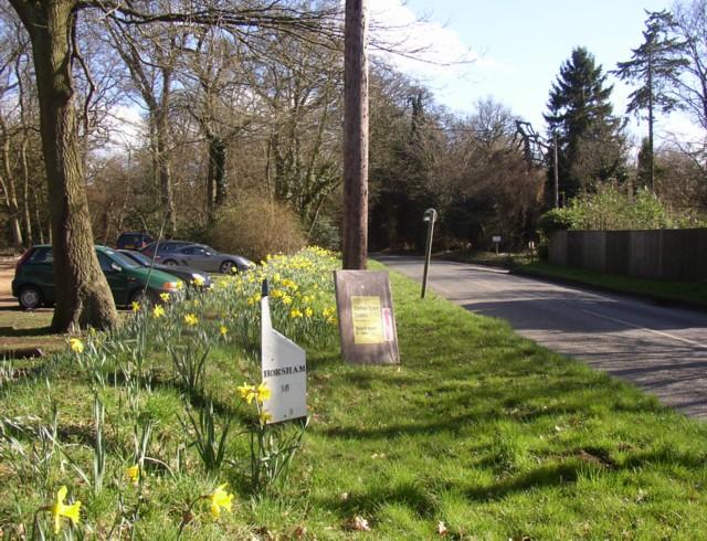 Milestone on the B2130, Winkworth, Busbridge