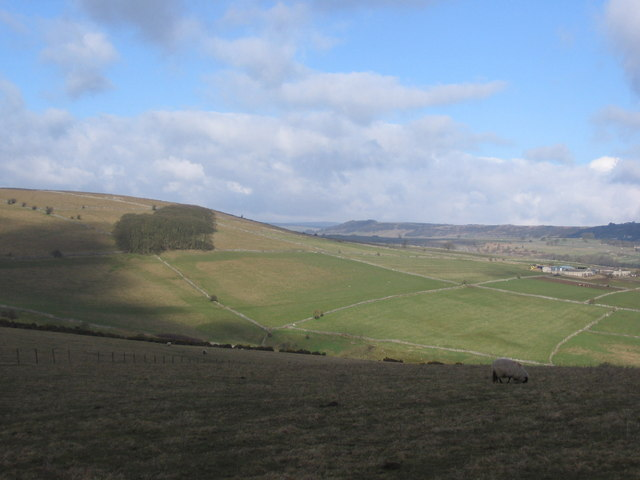 View over Coombs Dale to Highfields Farm
