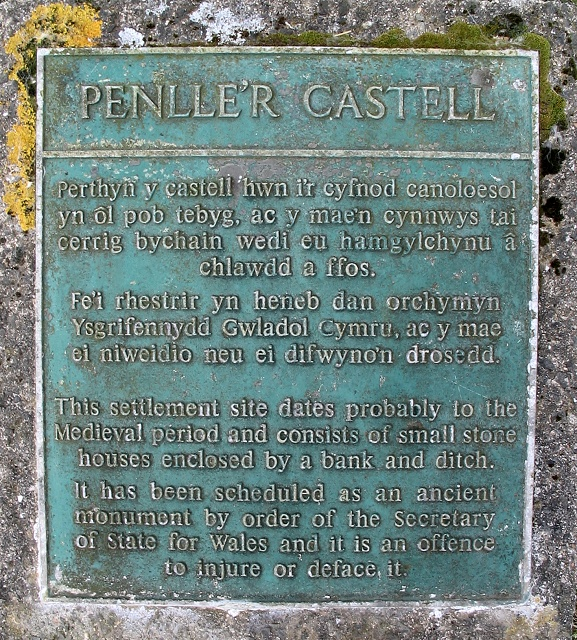 Plaque on Penlle'r Castell