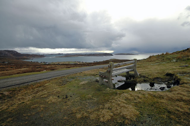 Seat at Viewpoint above Altandhu overlooking Summer Isles