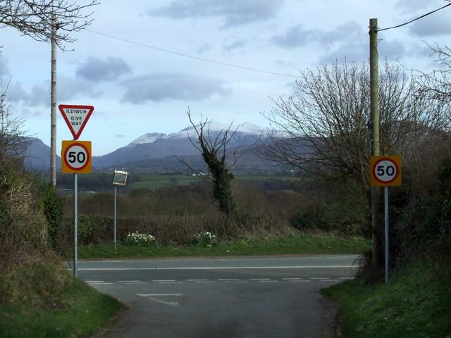 Road junction outside Brynsiencyn