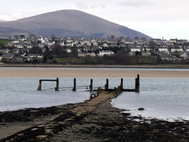 Old wooden landing stage on the Menai Straits