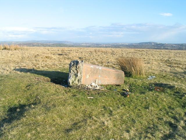 Toppled trig pillar on Mynydd Pysgodlyn