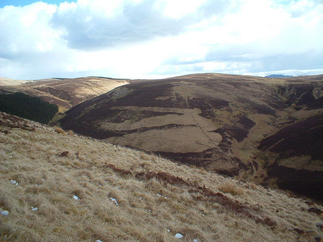 The braes above Fair Burn looking over to Cat Shoulder