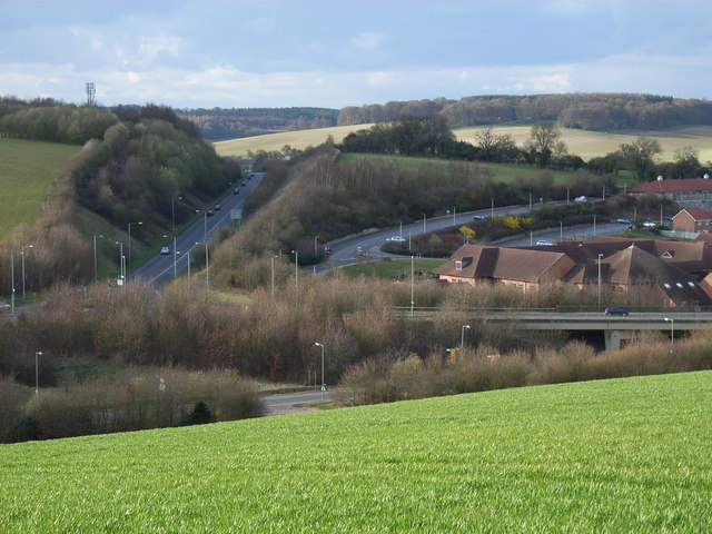 Amersham Hospital and the A413 cutting and flyover