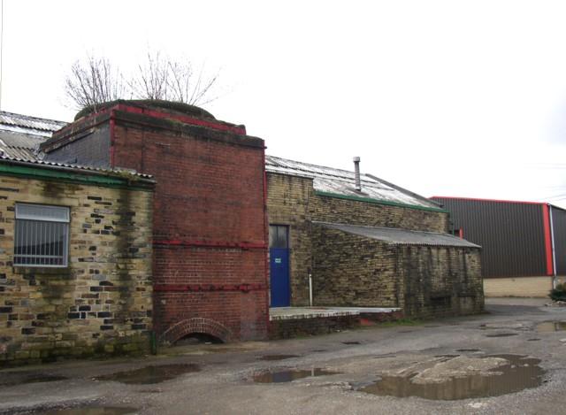 Chimney base, Calder Dye Works, Birds Royd, Rastrick