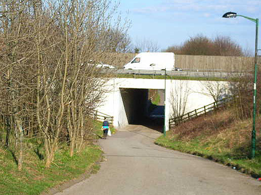 Renny's Lane, Durham, passing under A1(M)