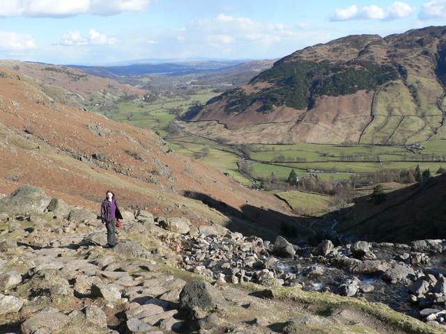 Looking down on Langdale from Stickle Ghyll