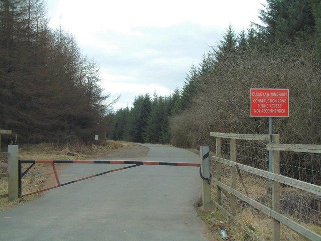 Entrance to Black Law wind farm