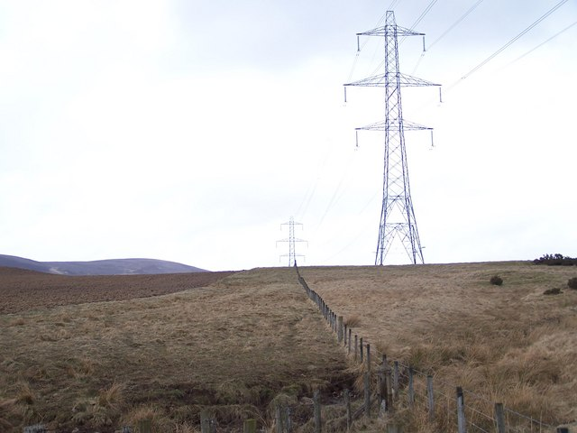 A line of electricity pylons looking NE from the Afflochie road.