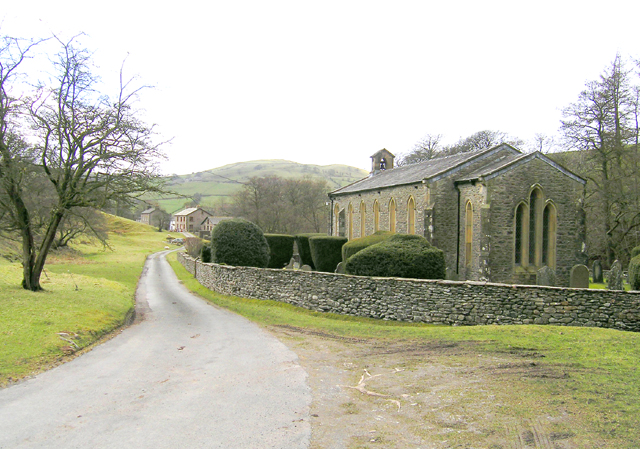 Holy Trinity Church & looking toward Thwaite. Howgill.