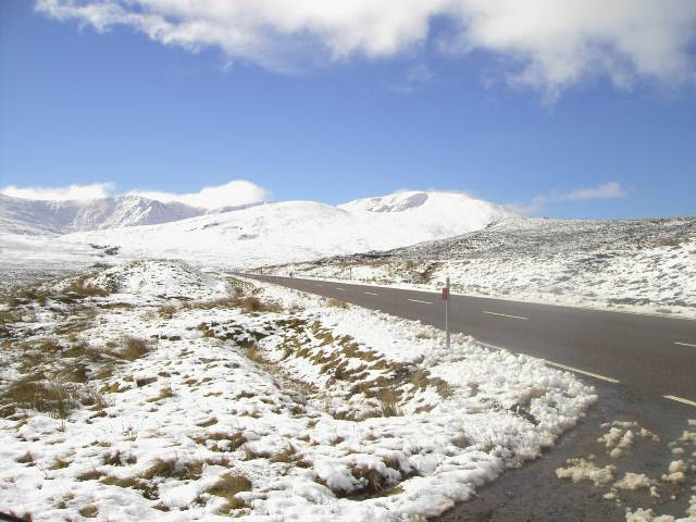 The north east corries of Moruisg from a snowy A890