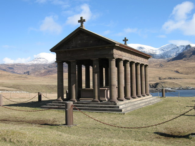 Mausoleum at Harris with Rum Cullins in background