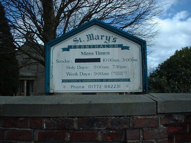 St. Mary's Fernyhalgh notice board