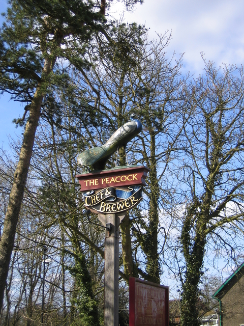 Pub sign for The Peacock, Forhill