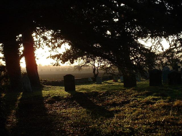 The churchyard of St Peter, Wolferton, Norfolk.